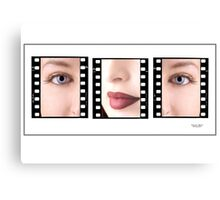 Young girls face in triptych Canvas Print