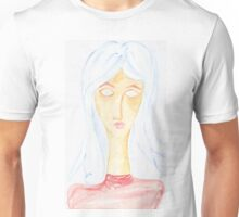 A portrait of a lady with a blue hair Unisex T-Shirt