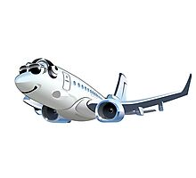 Cartoon Airliner Boeing 737 Photographic Print