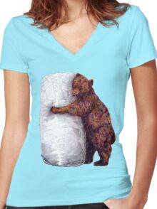 BEAR-rito Bear Hugs Women's Fitted V-Neck T-Shirt