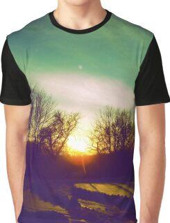 Green Blue Sunset Graphic T-Shirt