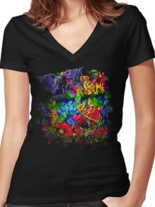 Trippy, psychedelic, arty Women's Fitted V-Neck T-Shirt