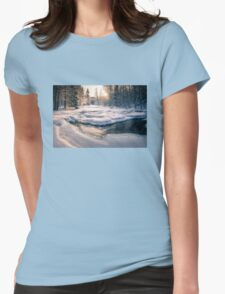 Winter feeling on the river Womens Fitted T-Shirt