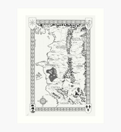 Witcher Map done in Ink Art Print