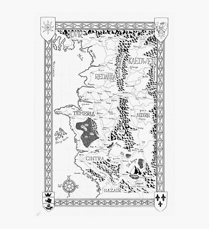 Witcher Map done in Ink Photographic Print