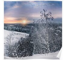 Cold winter evening on the hill Poster