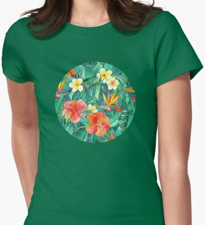 Classic Tropical Garden Womens Fitted T-Shirt