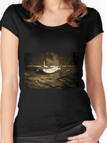 An old style digital painting of a Short Sunderland Flying Boat Women's Fitted Scoop T-Shirt