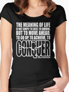 Meaning of Life (CONQUER Arnold Iconic White) Women's Fitted Scoop T-Shirt
