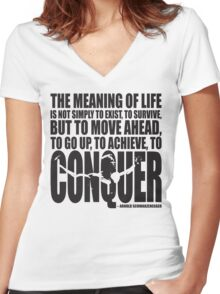 Meaning of Life (CONQUER Arnold Iconic Black) Women's Fitted V-Neck T-Shirt