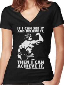 See, Believe, Achieve Women's Fitted V-Neck T-Shirt