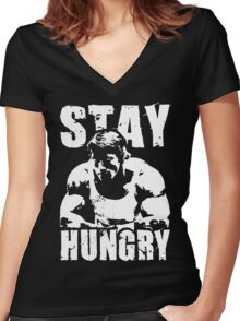 Stay Hungry Women's Fitted V-Neck T-Shirt
