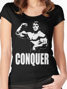 CONQUER (Arnold Single Bicep Flex) Women's Fitted Scoop T-Shirt