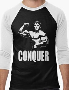 CONQUER (Arnold Single Bicep Flex) Men's Baseball ¾ T-Shirt