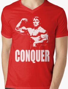 CONQUER (Arnold Single Bicep Flex) Mens V-Neck T-Shirt