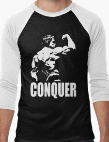CONQUER (Arnold Back Bicep Flex) Men's Baseball ¾ T-Shirt