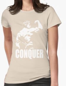 CONQUER (Arnold Back Bicep Flex) Womens Fitted T-Shirt