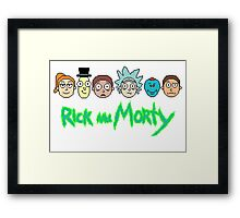 Rick and Morty Pixel Characters  Framed Print