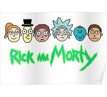 Rick and Morty Pixel Characters  Poster