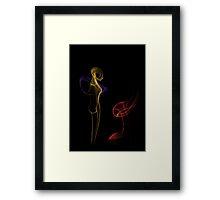 Alien girl looking at alien flower Framed Print
