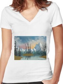 Sweet Mountain Sunrise Women's Fitted V-Neck T-Shirt