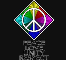 peace love unity respect rainbow symbol black Women's Fitted Scoop T-Shirt