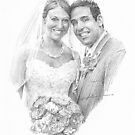 bride in pearls & groom drawing by Mike Theuer