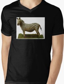 Colorful Grazing Zebra Mens V-Neck T-Shirt