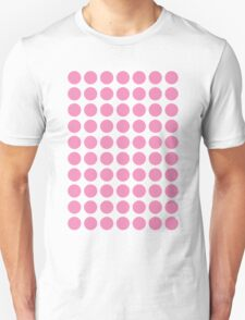 Circles 70s Pink on White Unisex T-Shirt