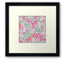 Vintage green white stripe pink bohemian floral Framed Print