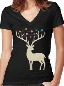 My Deer Universe Women's Fitted V-Neck T-Shirt