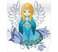 Cute praying Angel girl. Cartoon illustration Poster
