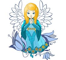Cute praying Angel girl. Cartoon illustration Photographic Print