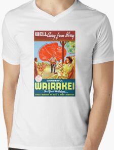 New Zealand Wairakei Vintage Travel Poster Mens V-Neck T-Shirt