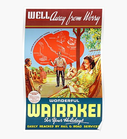 New Zealand Wairakei Vintage Travel Poster Poster