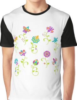 Pretty Multicolored Flowers Graphic T-Shirt