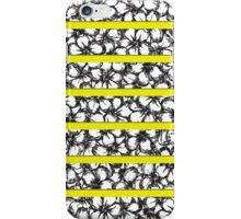 Bold Girly Hand Drawn Flowers on Neon Yellow iPhone Case/Skin