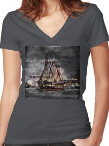 World's oldest commissioned warship afloat - USS CONSTITUTION Women's Fitted V-Neck T-Shirt