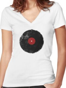 Grunge Vinyl Record Women's Fitted V-Neck T-Shirt