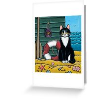 A Cat's Day Out at the Beach Greeting Card