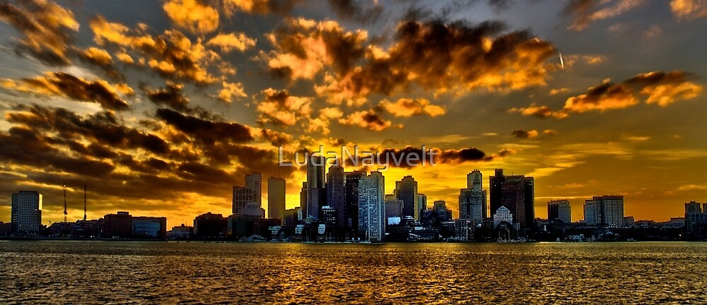 Sunset over Boston Harbor by LudaNayvelt