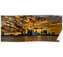 Sunset over Boston Harbor Poster