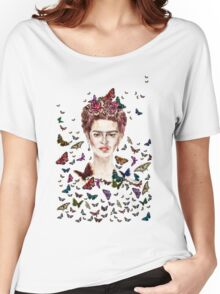 Frida Kahlo Flowers Butterflies Women's Relaxed Fit T-Shirt