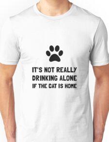 Drinking Alone Cat Unisex T-Shirt
