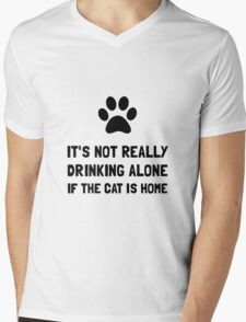Drinking Alone Cat Mens V-Neck T-Shirt