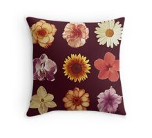 Floral Pattern Red Throw Pillow