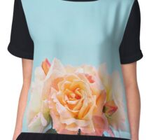 Pretty Peach Roses Chiffon Top