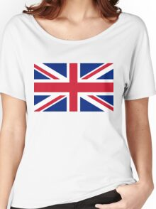 UK Union Jack ensign flag - Authentic version (Duvet, Print on Red background)  Women's Relaxed Fit T-Shirt