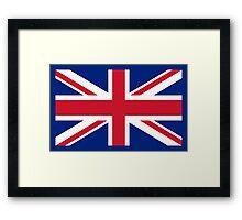 UK Union Jack flag - Authentic version (Duvet, Print on Blue background) Framed Print