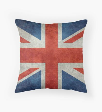 British Union Jack flag Vintage version, scale 3:5 Throw Pillow